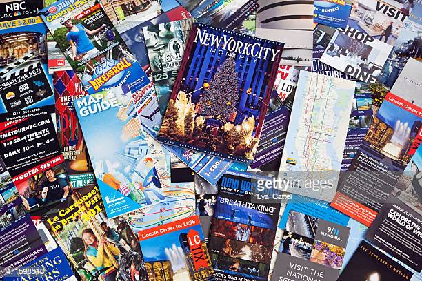 new york city information leaflets - flyer leaflet stock photos and pictures