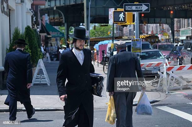 New York City Jewish Hassidic Man Crosses the Street