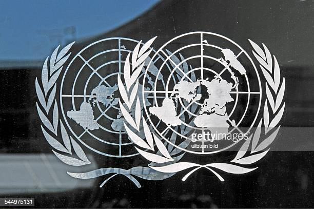 Logo of the United Nations at the UN General Secretary