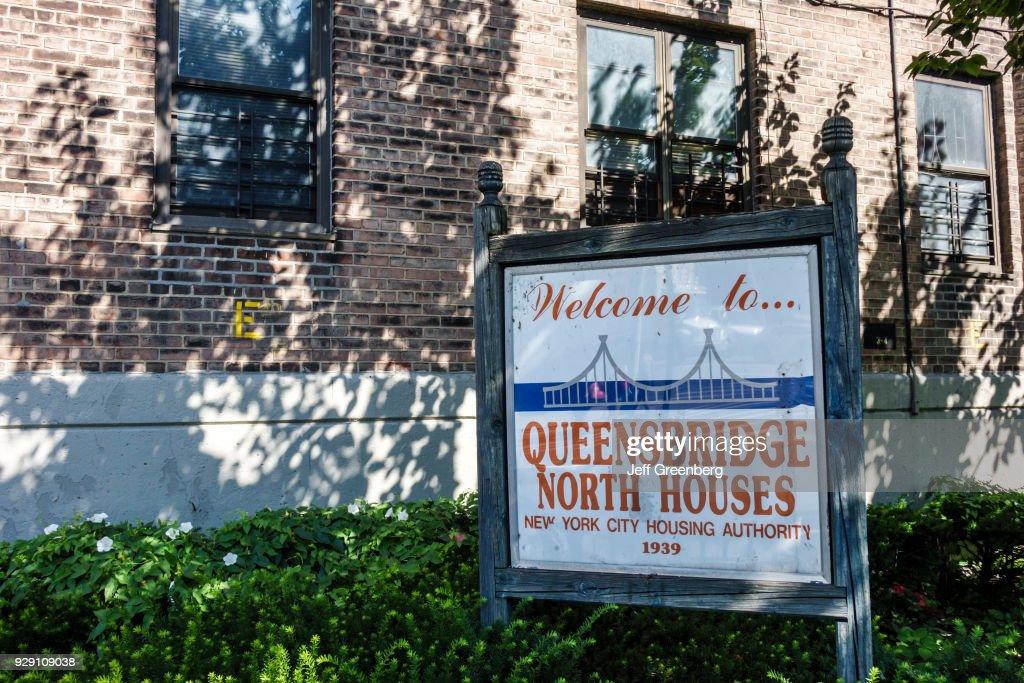 New York City, Long Island City, Queensbridge Public Housing Sign : News Photo
