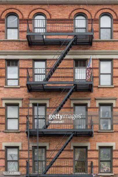 Usa New York City Manhattan Building With Fire Escape