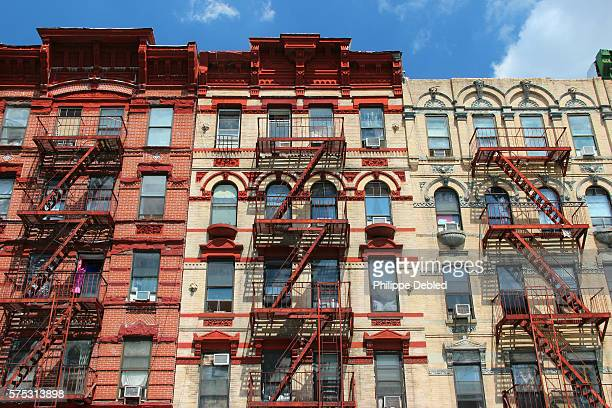 USA, New York City, Manhattan, Lower East Side, Typical apartment building facades with external staircases