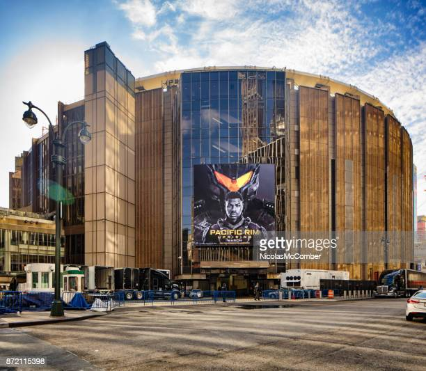 new york city manhattan madison square gardens front view - basketball stadium stock photos and pictures