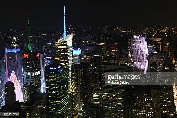 USA, NY, New York City, Manhattan, Midtown Manhattan skyline at night with Theater District and Times Square lit up at night