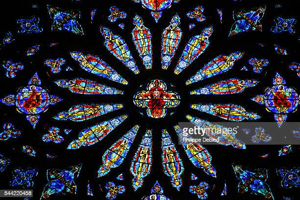 USA, New York City, Manhattan, Rose windows of the Cathedral of Saint John the Divine
