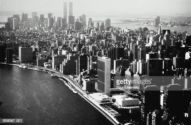USA, New York City, Manhattan, skyline, elevated angle view (B&W)