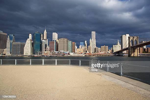 USA, New York City, Manhattan skyline with Brooklyn Bridge