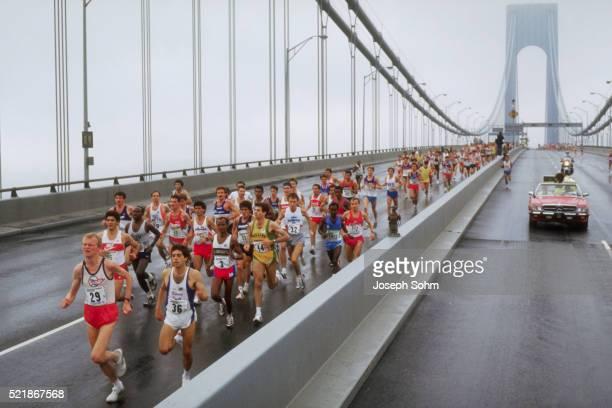 New York City Marathon Runners on the Verrazano Bridge