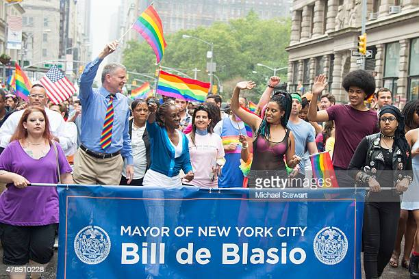 New York City Mayer Bill de Blasio, Chirlane McCray, Chiara de Blasio and Dante de Blasio attend the 2015 New York City Pride march on June 28, 2015...
