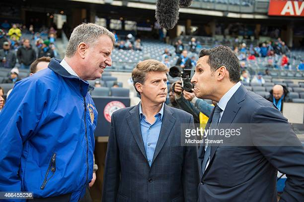 New York City Mayer Bill de Blasio New York Yankees owner Hal Steinbrenner and Manchester City's United Arab Emirates owner Khaldoon Al Mubarak...