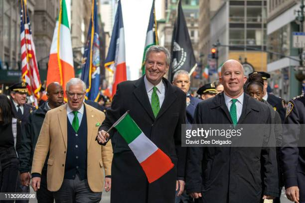 New York City Mayor Bill De Blasio along with Police Commissioner James P O'Neil march in the 2019 New York City St Patrick's Day Parade on March 16...