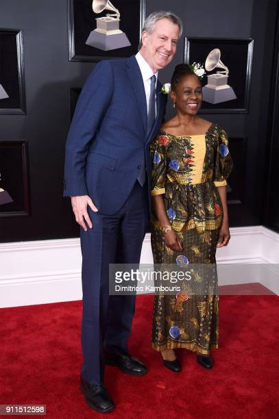 New York City Mayor Bill de Blasio and Chirlane McCray attend the 60th Annual GRAMMY Awards at Madison Square Garden on January 28 2018 in New York...