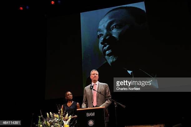New York City Mayor Bill de Blasio and his wife Chirlane McCray attend the 28th Annual Brooklyn Tribute to Dr Martin Luther King Jr at BAM Howard...