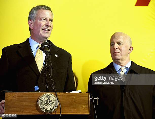 New York City Mayor Bill de Blasio and New York City Police Commissioner James O'Neill hold a press conference during the 90th Anniversary Macy's...
