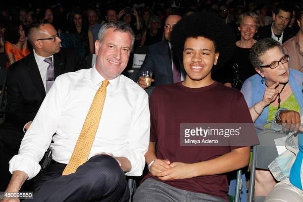 New York City Mayor Bill de Blasio and son Dante de Blasio attend Celebrate Brooklyn Opening Night Gala And Janelle Monae Concert at Prospect Park...