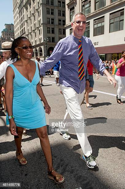 New York City mayor Bill de Blasio and wife Chirlane McCray attend the 2014 New York City Pride March on June 29 2014 in New York City