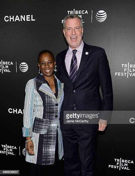 """New York City Mayor Bill de Blasio and wife Chirlane McCray attend the closing night gala premiere of """"Begin Again"""" during the 2014 Tribeca Film..."""