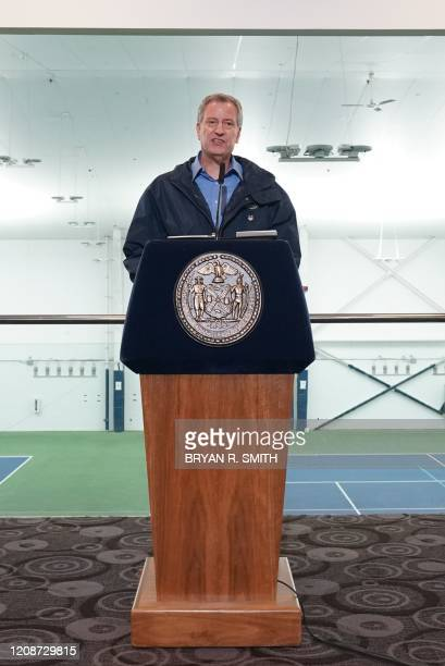 New York City Mayor Bill de Blasio announces that the USTA Bille Jean King tennis center will host a 350bed temporary hospital in the Borough of...