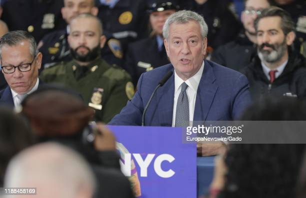 New York City Mayor Bill de Blasio announces the launch of Outreach NYC in New York City New York November 14 2019