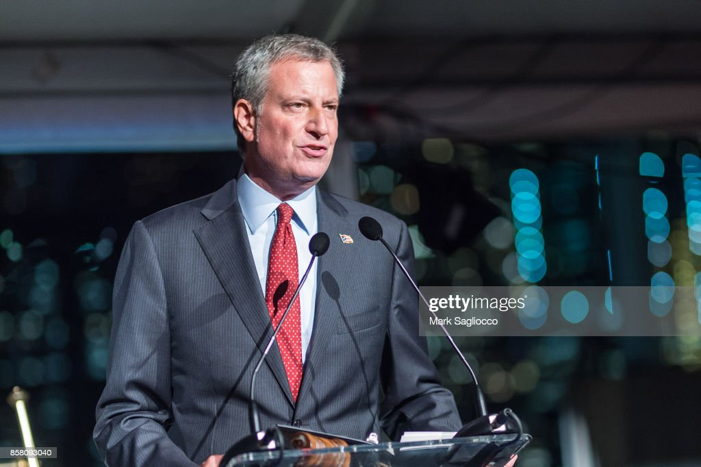 New York City Mayor Bill de Blasio attends the 2017 Brooklyn Bridge Park Conservancy Brooklyn Black Tie Ball at Pier 2 at Brooklyn Bridge Park on October 5, 2017 in the Brooklyn borough of New York City, New York.