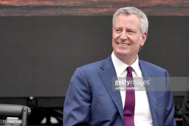 New York City Mayor Bill de Blasio attends the Statue of Liberty Museum Dedication Ceremony at Statue of Liberty Museum on May 16 2019 in New York...