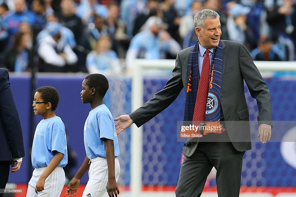New York City Mayor Bill de Blasio attneds the match between the New York City FC and the Toronto FC at Yankee Stadium on March 13, 2016 in the Bronx borough of New York City.