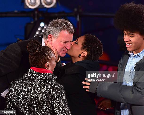 New York City Mayor Bill de Blasio Chirlane McCray Chiara De Blasio and Dante De Blasio attend New Year's Eve 2015 in Times Square on December 31...