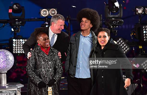 New York City Mayor Bill de Blasio Chirlane McCray Dante De Blasio and Chiara De Blasio attend New Year's Eve 2015 in Times Square on December 31...