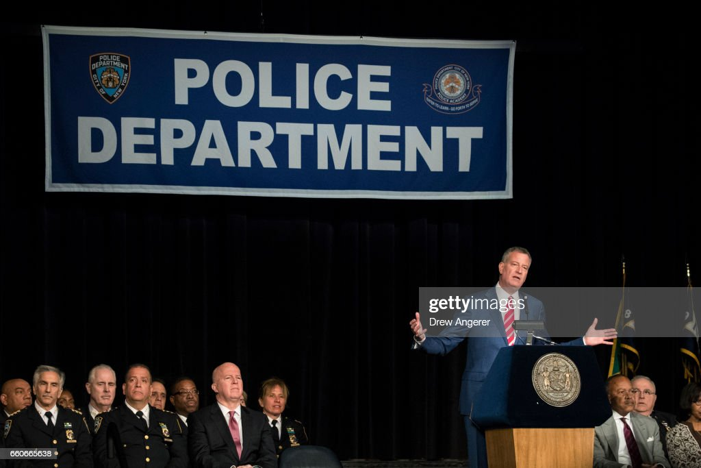 New York City Mayor Bill De Blasio delivers remarks during a police academy graduation ceremony for the newest members of the New York City Police Department (NYPD), at the Theater at Madison Square Garden, March 30, 2017 in New York City. Over 600 new officers were sworn in during the ceremony.