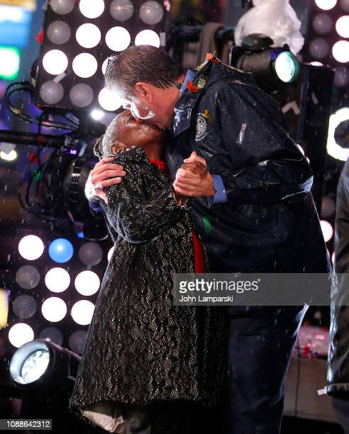 New York City Mayor Bill de Blasio his wife Chirlane McCray on stage during the Times Square New Year's Eve 2019 Celebration on December 31 2018 in...