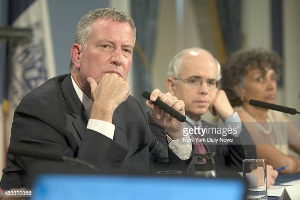 New York City Mayor Bill de Blasio hosts a roundtable discussion where he is joined by New York City Deputy Mayor Anthony Shorris and Deputy...