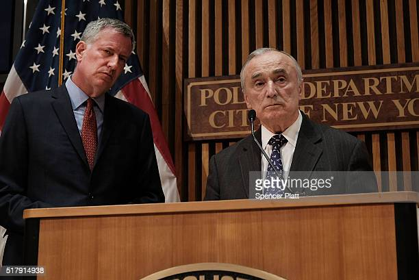 New York City Mayor Bill de Blasio is joined by Police Commissioner William Bratton at a news conference where the two spoke about a 'tabletop'...