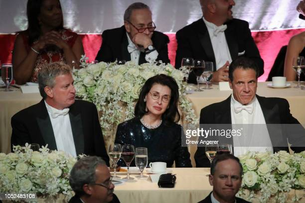 New York City Mayor Bill de Blasio Mary Ann Tighe and New York Governor Andrew Cuomo attend the annual Alfred E Smith Memorial Foundation dinner...