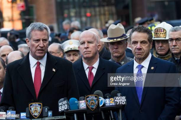 New York City Mayor Bill de Blasio New York City Police Commissioner James O'Neill and New York Governor Andrew Cuomo hold a press briefing outside...