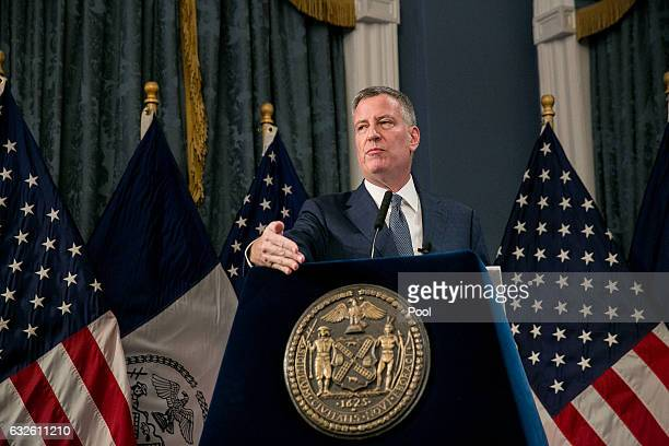 New York City Mayor Bill de Blasio presents the Fiscal Year 2018 Preliminary Budget at New York City Hall in New York City