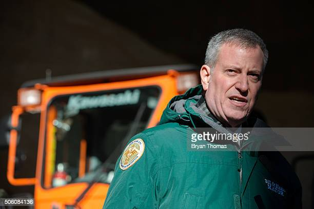 New York City Mayor Bill De Blasio speaks about the city's preparedness for an upcoming snowstorm at the Spring Street salt shed on January 21 2016...