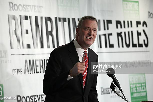 New York City Mayor Bill de Blasio speaks about the release of a new report authored by Nobelprize winning economist Joseph Stiglitz published by the...