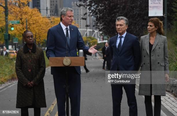 New York City Mayor Bill de Blasio speaks as the First Lady of Argentina Juliana Awada President Mauricio Macri of Argentina and First Lady of New...
