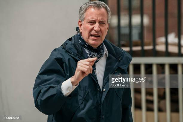 New York City Mayor Bill de Blasio speaks at a food shelf organized by The Campaign Against Hunger in Bed Stuy, Brooklyn on April 14, 2020 in New...