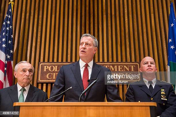 New York City Mayor Bill de Blasio speaks at a press conference regarding a police officer being shot and killed last night on October 21 2015 in New...