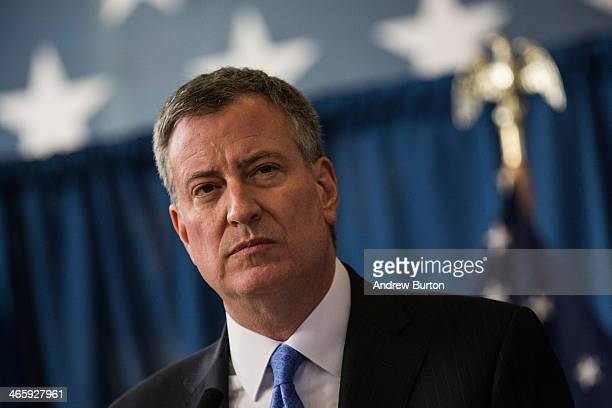 New York City Mayor Bill de Blasio speaks at a press conference to announce the city will not appeal a judge's ruling that the police tactic...