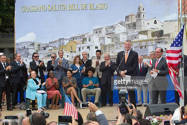New York City Mayor Bill de Blasio speaks at a welcome ceremony during a visit to his grandmother's town on July 24 2014 in Grassano Italy The New...