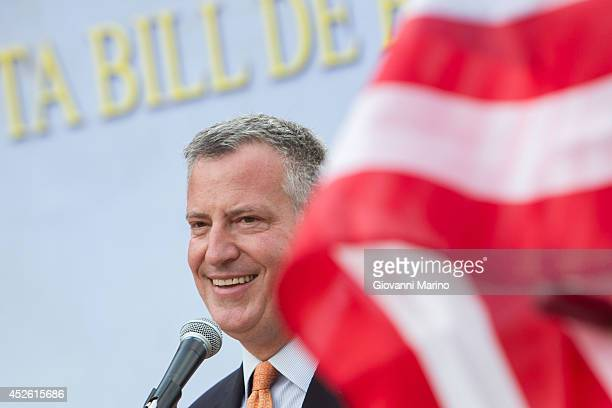 New York City Mayor Bill de Blasio speaks at a welcoming ceremony during a visit to his grandmother's town on July 24 2014 in Grassano Italy The New...