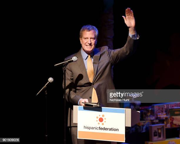 New York City Mayor Bill de Blasio Speaks at the Celebration of Three Kings Day and Toy Donation with Hispanic Federationon January 6 2018 in New...