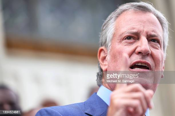 New York City Mayor Bill de Blasio speaks during a faith vigil for victims of an earthquake in Haiti at the steps of St. Jerome's Roman Catholic...