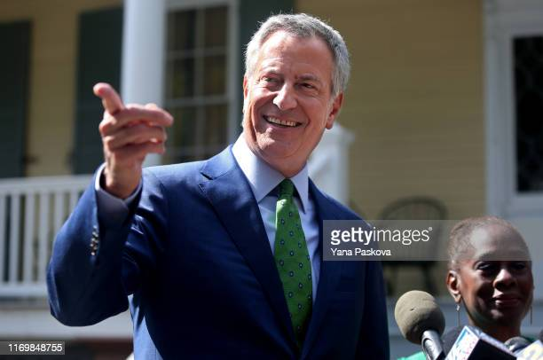New York City Mayor Bill de Blasio speaks during a press conference held in front of Gracie Mansion on September 20 2019 in New York City De Blasio...