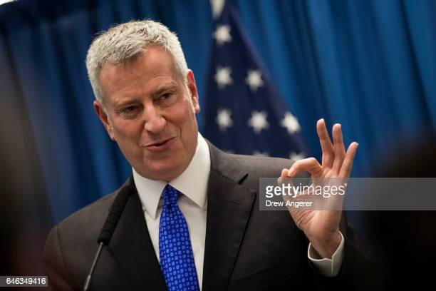 New York City Mayor Bill de Blasio speaks during a press conference concerning homelessness February 28 2017 in New York City De Blasio announced a...