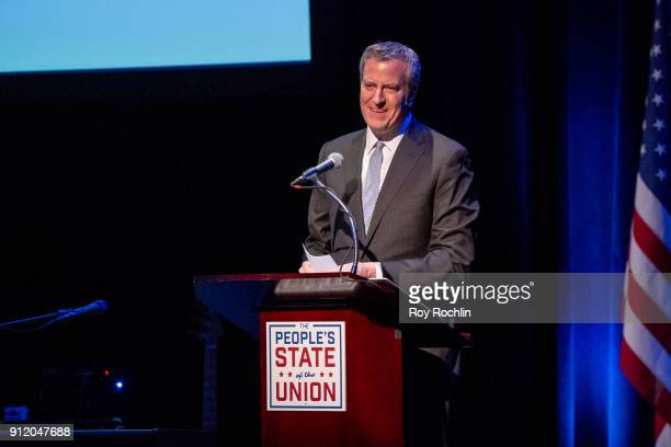 New York City Mayor Bill de Blasio speaks onstage during The People's State Of The Union at Town Hall on January 29 2018 in New York City