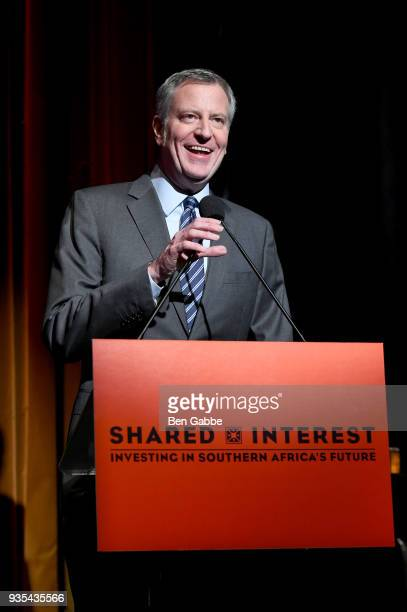 New York City Mayor Bill de Blasio speaks onstage during the Shared Interest 2018 Annual Spring Benefit at the Edison Ballroom on March 20 2018 in...