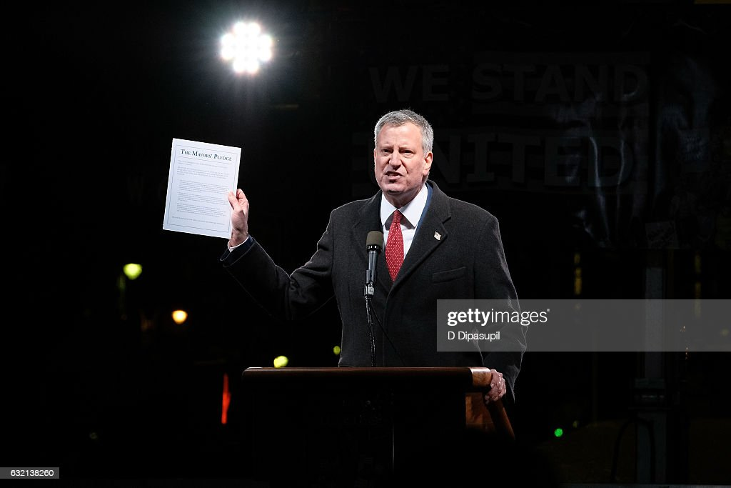 New York City mayor Bill de Blasio speaks onstage during the We Stand United NYC Rally outside Trump International Hotel & Tower on January 19, 2017 in New York City.